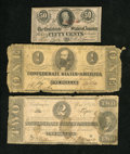 Confederate Notes:1863 Issues, T61 $2 1863. T62 $1 1863. T63 50 Cents 1863.. ... (Total: 3 notes)