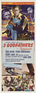 "Movie Posters:Western, 3 Godfathers (MGM, 1948). Insert (14"" X 36"").. ..."