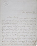 "Autographs:Military Figures, [Indian Wars] Maurice Maloney Autograph Letter Signed with BattleContent. Two pages, two-sided, 8"" x 9.75"", ""Fort Steilac..."