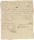 """Autographs:Military Figures, [Revolutionary War] Benjamin Hickok Autograph Document Signed, a Receipt of Weapons. One page, 6.25"""" x 7.5"""", Danbury CT, Jul..."""