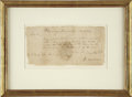 """Autographs:Military Figures, John Sullivan Document Signed. One page, 8.25"""" x 4"""", """"Wyoming Head Quarters July 17th, 1779."""" On May 31, 1779, General G..."""