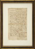 "Autographs:Military Figures, [Israel Putnam] Contemporary Copy Advising Colonel Williams toRaise Troops. One page, 7"" x 12.25"", April 23, 1775, Haddam. ..."