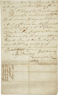 "Autographs:Military Figures, [Battle of Rhode Island] John Sullivan Document Signed andSignature. Two pages, front and verso, 8"" x 13"", February 19,177..."