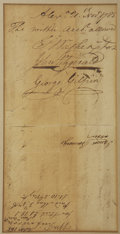 "Autographs:U.S. Presidents, George Washington Document Signed as President of the Potomac Company. One page, 7.5"" x 4"", Alexandria VA, November 21, 1785..."