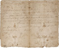 """Autographs:U.S. Presidents, Andrew Jackson Document Signed. One page, 8"""" x 6.5"""", n.d., thoughlikely early 1790s (""""179"""" was not completely filled-in..."""