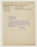 """Autographs:Celebrities, Booker T. Washington Typed Letter Signed on Tuskegee Normal andIndustrial Institute Letterhead. One page, 8"""" x 10.5"""", Novem..."""