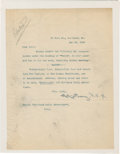 """Autographs:Celebrities, Robert E. Peary Typed Letter Signed. One page, 8"""" x 10.5"""", May 22,1905, Portland, Maine, asking the editor of the Portlan..."""