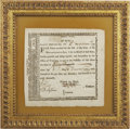 "Miscellaneous:Ephemera, Revolutionary War Bond, ""Committee of War/ No. 3721"". Onepage partly printed, 7"" x 7"", March 21, 1777, ""State ofMass..."