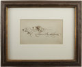 "Autographs:Artists, Edmund Osthaus Original Drawing of Dogs Signed. One page, 6.5"" x3.75"", n.d., n.p. German-born American artist Edmund Osthau..."