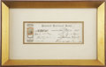 """Autographs:Authors, Ralph Waldo Emerson Signed Check, """"R. Waldo Emerson"""". One page, 7.5"""" x 2.5"""" (sight), October 20, 1873, Concord, Mass..."""