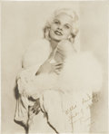 Movie/TV Memorabilia:Autographs and Signed Items, Jean Harlow Inscribed Photo to William Wyler....