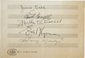 Movie/TV Memorabilia:Autographs and Signed Items, Errol Flynn and Others Signed Music Sheet....
