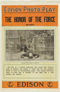"""Movie Posters:Drama, The Honor of the Force (Thomas A. Edison, Inc., 1913). One Sheet (27"""" X 41"""").. ..."""