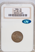 Proof Indian Cents: , 1886 1C Type One PR66 Brown NGC. CAC. NGC Census: (29/8). PCGS Population (12/5). Mintage: 4,290. Numismedia Wsl. Price for...