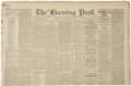 Autographs:Military Figures, [George Custer] Group of Three Newspapers Containing Articles on the Custer Massacre. (1)Chicago Daily Tribune. Eight pa...