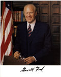 "Autographs:U.S. Presidents, Gerald Ford Photograph Signed. One page, 8"" x 10"", n.d., n.p. Thebold signature lies in a white strip at the foot of this c..."