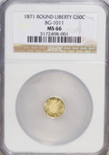 California Fractional Gold, 1871 50C Liberty Round 50 Cents, BG-1011, R.2, MS66 NGC....