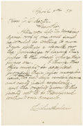 "Autographs:Non-American, Lili'uokalani Autograph Letter Signed. Two pages including integralblank, written on recto of first page only, 5.5"" x 8.25""..."