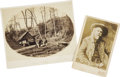 "Photography:Cabinet Photos, William F. ""Buffalo Bill"" Cody Cabinet Card and Imperial Card ofTorpedo Station on the James River, 1864. The Cody card is ...(Total: 2 Items)"