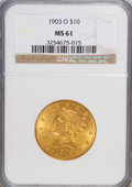 Liberty Eagles: , 1903-O $10 MS61 NGC. NGC Census: (293/309). PCGS Population (162/388). Mintage: 112,771. Numismedia Wsl. Price for NGC/PCGS...