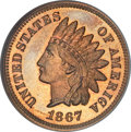 Proof Indian Cents, 1867 1C PR67 ★ Red Cameo NGC....