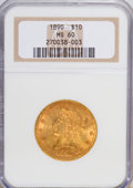 Liberty Eagles: , 1890 $10 MS60 NGC. NGC Census: (64/161). PCGS Population (27/149). Mintage: 57,900. Numismedia Wsl. Price for NGC/PCGS coin...