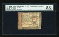 Colonial Notes:Continental Congress Issues, Continental Currency January 14, 1779 $65 PMG About Uncirculated 53EPQ....