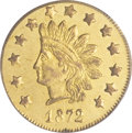 California Fractional Gold, 1872 $1 Indian Round 1 Dollar, BG-1207, R.4, AU58 PCGS....