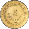 Territorial Gold, (1834-37) $5 C. Bechtler Five Dollar, 140G. 20C, RUTHERFORD. MS61 PCGS....