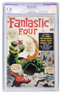 Silver Age (1956-1969):Superhero, Fantastic Four #1 (Marvel, 1961) CGC Apparent FN/VF 7.0 Slight (P)Off-white to white pages....