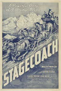 "Stagecoach (United Artists, 1939). One Sheet (27"" X 41"") Proof Style"