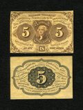 Fractional Currency:First Issue, Fr. 1231SP 5¢ First Issue Narrow Margin Pair New. ... (Total: 2 notes)