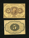 Fractional Currency:First Issue, Fr. 1231SP 5¢ First Issue Narrow Margin Pair New.... (Total: 2 notes)