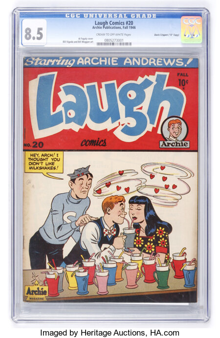 "Laugh Comics #20 Davis Crippen (""D"" Copy) pedigree (Archie, 1946) CGC VF+ 8.5 Cream to off-white pages...."
