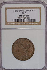 1846 1C Small Date MS64 Brown NGC. N-7. NGC Census: (35/21). PCGS Population (16/4). Mintage: 4,120,800. Numismedia Wsl...