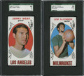 Basketball Cards:Lots, 1969-70 Topps Basketball Jerry West and Lew Alcindor SGC-GradedGroup Lot of 2....