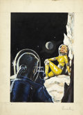 Pulp, Pulp-like, Digests, and Paperback Art, ED EMSHWILLER (American 1925 - 1990). Science fictionpreliminary painting. Gouache on board. 7 x 5 in.. Signed lowerri...