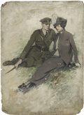 Mainstream Illustration, CLARENCE F. UNDERWOOD (American 1871 - 1929). A Soldier and HisGirl, magazine story illustration. Gouache on board. 30 ...