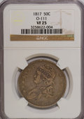Bust Half Dollars: , 1817 50C VF25 NGC. O-111. NGC Census: (9/322). PCGS Population(14/322). Mintage: 1,215,567. Numismedia Wsl. Price for NGC...