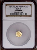 California Fractional Gold: , 1876 25C Indian Round 25 Cents, BG-879, R.4, MS65 Prooflike NGC.NGC Census: (2/0). PCGS Population (10/1). (#10740)...