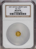 California Fractional Gold: , 1871 25C Liberty Octagonal 25 Cents, BG-767, R.3, MS64 ProoflikeNGC. NGC Census: (4/0). PCGS Population (11/1). (#10594)...