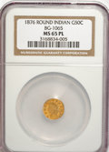 California Fractional Gold, 1876 50C Indian Round 50 Cents, BG-1065, R.5, MS65 ProoflikeNGC....