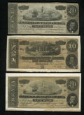 Confederate Notes:Group Lots, Mixed Lot of 1864 Confederate Notes. Three Examples.. ... (Total: 3notes)