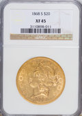 Liberty Double Eagles: , 1868-S $20 XF45 NGC. NGC Census: (238/906). PCGS Population(126/234). Mintage: 837,500. Numismedia Wsl. Price for NGC/PCGS...