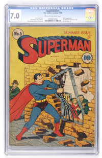 Superman #5 (DC, 1940) CGC FN/VF 7.0 Cream to off-white pages