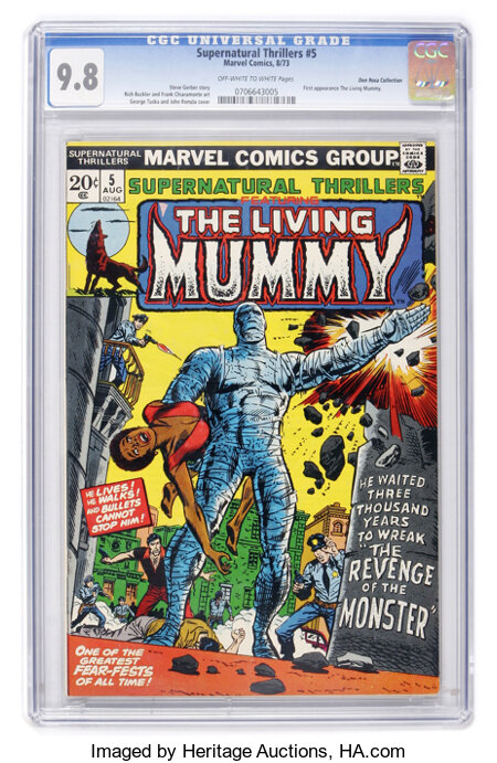 Supernatural Thrillers #5 The Living Mummy - Don Rosa Collection pedigree (Marvel, 1973) CGC NM/MT 9.8 Off-white to white page...