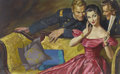 Mainstream Illustration, WALTER BAUMHOFER (American 1904 - 1987). The Spy Wore Crinoline,American Weekly story illustration, April 24, 1955. Oil...(Total: 2 Items)
