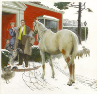 TOM LOVELL (American 1909 - 1997) Welcome Home, story illustration Oil on board 18 x 19 in. Si