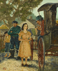 AMOS SEWELL (American 1901 - 1983) Nina's Decision, American Weekly illustration, October, 1949 Oil