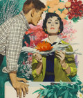 Mainstream Illustration, JON WHITCOMB (American 1906 - 1988). A One-Day Marriage toActress Mary Brian, c. 1939. Gouache on board. 16.25 x 14in....
